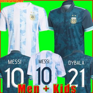 Wholesale argentina home kit for sale - Group buy Argentina soccer Jersey Copa home away football shirt MESSI DYBALA AGUERO LO CELSO MARTINEZ TAGLIAFICO Men Kids kit uniforms