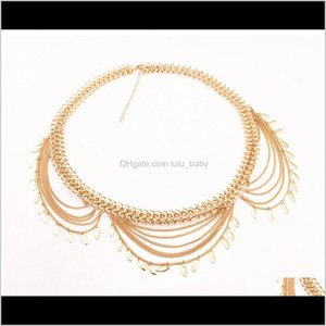 Wholesale tribal chains resale online - Boho Silver Gold Meta Chain Leaves Tassel Body Charms Sexy Biniki Waist Beach Tribal Qn5U Chains D0Kzu