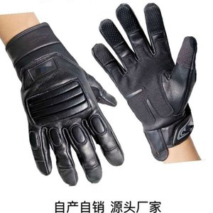 Wholesale security finger for sale - Group buy Leather tactical full finger army fan mounted police command security guard on duty patrol climbing sliding rope landing gloves
