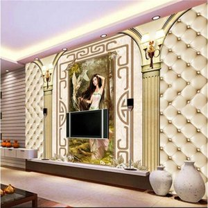 Wholesale wallpapers women resale online - Custom Size d Po Wallpaper Mural Living Room Soft Bag Roman Stylos Woman Picture Sofa TV Backdrop For Wall Wallpapers