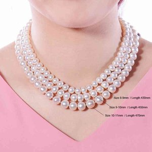 Wholesale white twisted pearl necklace resale online - Necklaces Genuine Natural Freshwater Necklace Women real Wedding White Pearl Anniversary Gift in Box