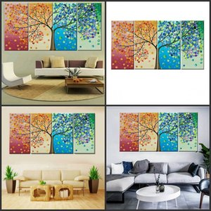 ingrosso alberi di immagine-Four Seasons Tree Wall Canvas Art Decoration Picture Print Family Living Room Pittura a olio No Frame Mama Dad Qylhza Garden2010 R2