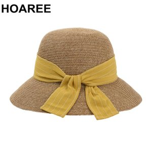 Wholesale yellow womens hats for sale - Group buy Summer Hat Yellow Womens Sun Bowknot Visor Straw Wide Brim Spring Designer Brand Dome Collapsible Bucket Hats