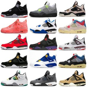 Wholesale basketball bands resale online - 4 s With Shoe Box designers sail Neon metallic purple basketball Union noir guava ice Jumpman Mens Shoes Sneakers Black cat bred Fire