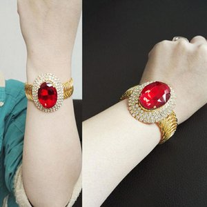 Wholesale rubies bangles for sale - Group buy Gold Plated Spring Round Full Diamond Ruby Open Bracelet Bangle