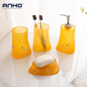 Wholesale resin bathroom accessories for sale - Group buy Amber Resin Bathroom Accessories Set Yellow Orange Soap Dish Mouthwash Cup Toothbrush Holder Dispenser Lotion Bottle Bath Accessory