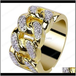 Wholesale hip pop jewelry for sale - Group buy Luxury Ice Out Gold Plated For Men Fashion Bling Hiphop Jewelry Pop Hip Hop Zircon Cuban Chain Link Ring Nice Gift Nov6Y Band Plnqt