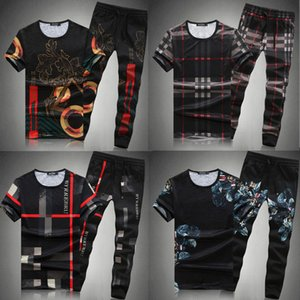 Wholesale mens exercise shirts resale online - Ice Silk Suit Mens Large Size Short Sleeve T shirt Plaid Half Sleeve Summer Thin Fashion Exercise Casual Pants Two Piece Set