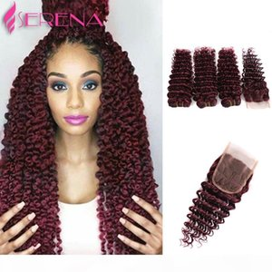 Wholesale human hair weave online for sale - Group buy Sale Cheap human hair g bundles human hair weave deep wave J Red Wine remy Malaysian curly hair weave online inch