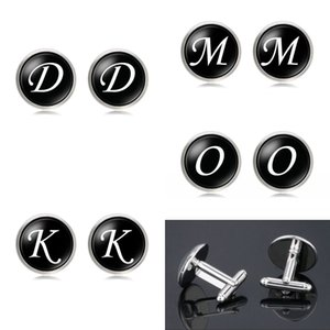 Wholesale cuffs links resale online - Mens Fashion A Z Single Alphabet Cufflinks Silver Color Letter Cuff Button for Male Gentleman Shirt Wedding Cuff Links Gifts W2