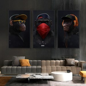 Wholesale canvas prints oil paintings panel resale online - 3 Panels Thinking Monkey with Headphone Canvas Oil Painting Art Funny Animal Posters Prints Wall Pictures for Living Room Home Decor