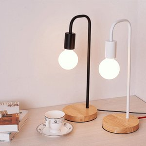 Wholesale simple bedside table lamps resale online - Nordic Modern Wood Desk Lights wooden Bedside Table Lamps for living room Simple Light Fixtures forRoom Decor on off switch