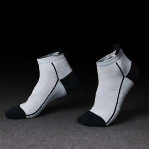 Wholesale thick cotton sport socks resale online - New men s short cotton socks sports socks towel bottom socks mesh leisure basketball outdoor winter thick