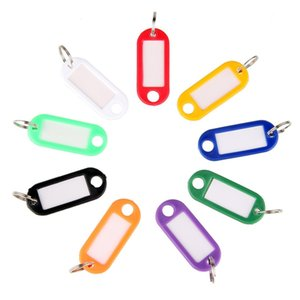 Wholesale key tags resale online - Cheap Plastic Key Tags ID Labels Item Identifier Split Ring For Key Chain