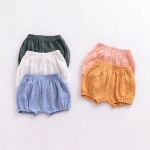 Wholesale waist breads resale online - Newborn Baby Bread Pants Kids Girl Boy Short Pants Children Knickers Solid Cotton Linen Elastic Waist J2