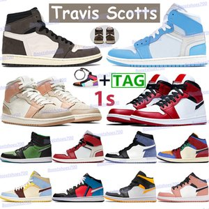 High travis scotts basketball shoes 1 1s men women sneakers chicago mid milan pink quartz white gym red black royal blue moon trainers