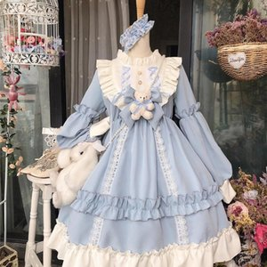 Wholesale cute dresses resale online - Kawaii Lolita Style Women Lace Maid Dress Cute Japanese Costume Sweet Gothic Party Robe Renaissance Vestidos