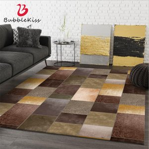 Wholesale cowhide rugs resale online - Bubble Kiss Brown Geometic Carpets For Living Room Polyester Cowhide Pattern Area Rugs Bedroom Decor Home Bedside Floor Mat