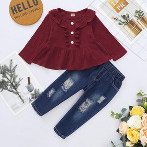 Wholesale retro baby clothes for sale - Group buy Fall Kids Girl Clothes Baby Outfits Solid Wine Red Long Sleeve Shirts Top Retro Ripped Jeans Pants Infant Set Clothing Sets