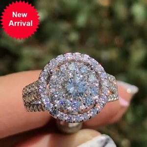 Wholesale bride ring set resale online - UILZ Fashion Prong Set Geometric Round Wedding Rings Elegant Engagement Bride Ring For Girlfriend Party Jewelry New