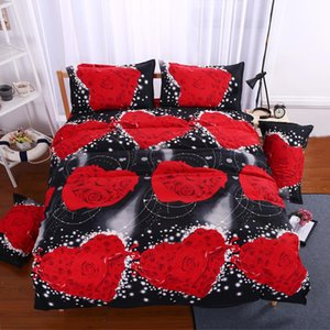 Wholesale orange 3d bedding set resale online - Design Black Love Rose Couples Bedding Set d Floral Bed Linen Duvet Cover Sheet Pillowcase Twin Queen King Size Sets