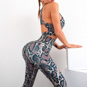 yoga-set kleidung modale frauen großhandel-Nahtlose Push Up Modal Snake Print Yoga Set Frauen Crisscross Back Sportswear Gym Kleidung Fitness Leggings Training Sportanzug Outfit