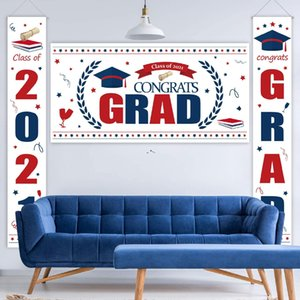 abschuss party backdrops großhandel-Studenten Graduation Dekorationen Flaggen Grad Glückwunsch Party Decor Kulisse Banner Party Supplies Hängende Flaggen FWB5852