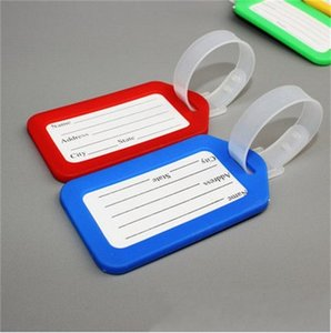 Wholesale plastic label holders resale online - PVC Plastic Luggage Tag Holder Labels Strap Name Address ID Suitcase Bag Baggage Travel Luggage label Random S2