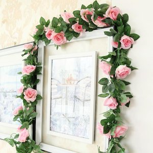 Wholesale pink rose vine for sale - Group buy 225cm FT Artificial Rose Vine Flowers Plants Pink Fake Flower For Wedding Home Party Garden Craft Art Decor Decorative Wreaths