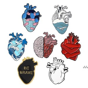 ingrosso cuore anatomico-Anatomical Heart Pins Medical Anatomy Brooch Brooch Heart Neurology Pins Per Medico e Infermiera Risvolto Imitare Borse perno smaltato DWWE5564