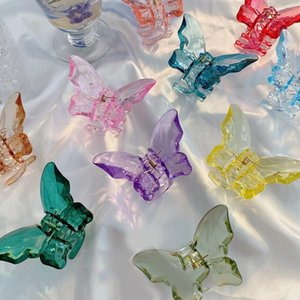 Wholesale acrylic resin clear resale online - Butterfly Clear Hair Claw Resin Barrettes Transparent Hair Clip Acrylic Hair Accessories Hairpins Hairgrips Butterfly