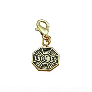 Wholesale gold chi resale online - 100pcs Tai Chi Bagua yin and yang five lines amulet Floating Lobster Clasps Charm Beads Antique gold Fit Charm Bracelet DIY Jewelry