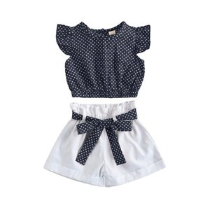 Wholesale polka dot clothing for kids resale online - Kids Suit Set Polka Dot Print Round Neck Sleeve Tops Shorts With Waist Belt For Summer Clothing Sets