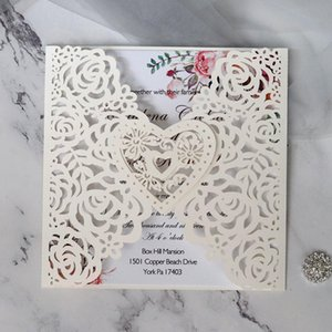 Wholesale white purple wedding invitation card for sale - Group buy White Love Heart Laser Cut Wedding Invitation With Personalized Print DIY Greeting Cards For Marriage Party Favors