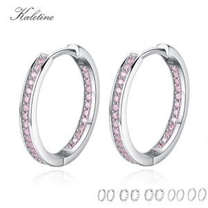 Wholesale pink coral earrings sterling silver resale online - Kaletine Pure Sterling Silver Small Hoop Earrings for Women Round Pink White CZ Unique Earrings Luxury Jewelry Brinco1