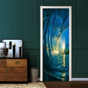 Wholesale pc wallpapers resale online - 2 set Gate Stickers DIY Mural Bedroom Home Decor Poster PVC D Surf Waterproof Imitation D Door Sticker Wallpaper Decal V2