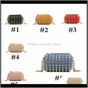 Wholesale kids children mini designer handbag resale online - Kids Designer Handbags Mini Girls Full Rivet Bucket Bag Stylish Chain Shoulder Bag Children Coin Purses Pu Solid Storage Bag Sea Sapen Fkugb