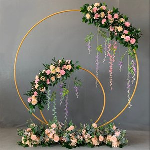 Wholesale metal wedding flower stand resale online - Wedding Decor Props Metal Circle Frame Backdrop Decora Marriage Arch Wrought Iron Shelf DIY Party Decoration Round Flower Stand V2