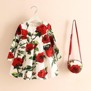 Wholesale baby bag for clothes resale online - Baby Girls Dress with Bag Brand Kids Autumn Dresses for Girls Clothing Floral Children Christmas Dress Princess Vestidos F1205