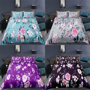 Wholesale flowers 3d duvet cover king resale online - Bedding sets Luxury D Beautiful Flowers Printed Set Pastoral Style Duvet Cover Pillowcase Home Textile Queen and King Size