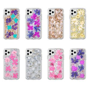 Wholesale real chinese flowers resale online - Real Dried Flower Transparent Case For iPhone Pro XS Max X XR Plus Bling foil Samsung S10 Phone cases