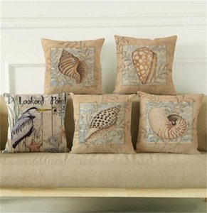 Wholesale v2 case resale online - 18 Ocean Style Cushion Covers Types Conch Shell Cotton Throw Pillow Case Home Decorative Sofa Cushion Cover Pillowcase V2