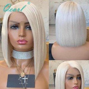Wholesale platinum color wigs resale online - Side Parting Human Hair Wigs Platinum Blonde Color Transparent Lace Front Wig Malaysian Straight Remy x4 Qearl1