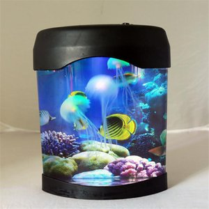 Wholesale jellyfish tanks resale online - Newest Creative Beautiful Aquarium Night Light Tank Swimming Mood Light Durable Home Decoration Simulation Jellyfish LED Lamp