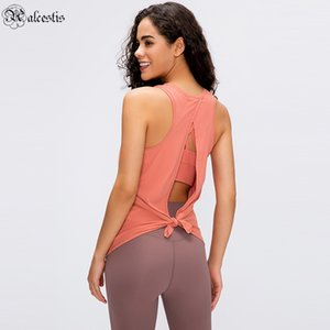 esportes nu venda por atacado-2020 Novas Mulheres Fitness Rodada Neck Sem Mangas Loose Top Nude Strapping Vest Bow Back Running Sports Blouse