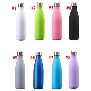 Wholesale stainless steel paints resale online - 17OZ Rubber paint water Bottle Water Cup Insulation Mug ML Vacuum Bottle Sports Stainless Steel Bowling Shape Travel Mugs L009