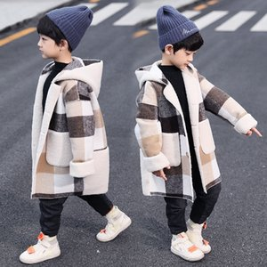Wholesale coats for kids resale online - New Arrivals Autumn Winter Boys Hoodies Coat For Year Toddler Kids Long Sleeve Plaid Casual Tops Outwear Coats Two Colors V2