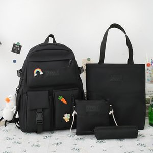 Wholesale backpacks for college for sale - Group buy 4 Sets Canvas Schoolbags For Teenage Girls Women Backpack School Kids Primary School Bag College Student Laptop Backpacks
