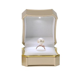 Wholesale silver jewellery boxes resale online - 2019 New Octagonal Jewellery Box Silver Gray Deerskin Decorative Buckle Ring Box Bangle Bracelet Necklace Box