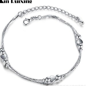 Wholesale anklet feet lovers resale online - Retail sterling Silver Anklet Unique Nice Sexy Simple Beads Silver Chain Anklet Ankle Foot Jewelry Q2